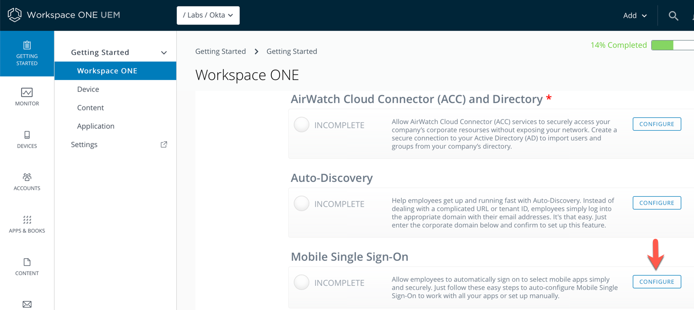 Setting up Workspace ONE Single Sign-on (SSO) and
